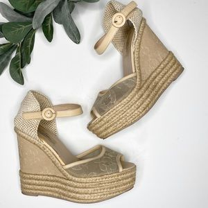 Valentino lace straw wedges